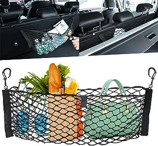 Uheng Universal Nylon Car Trunk Rear Cargo Organizer Storage Net Tail Mesh Luggage Bag for SUV Adjustable Hanging 27 X 27 inches with Bonus Free Hooks