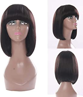 RemeeHi Short Straight Bob Hair Wig None Lace Full Head Wig Alike Bangs For Women