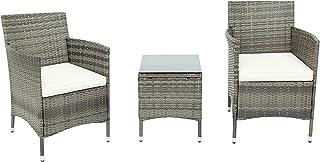 Moimhear Juego de muebles de jardín Iowa Balcony, muebles de balcón, de polirratán, juego de 2 personas, 3 piezas, incluye cojines de asiento, plástico, aspecto de ratán plano (gris)