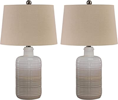 Ashley Furniture Signature Design Marnina Ceramic Table Lamp Set Of Two Taupe