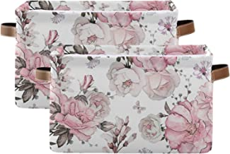 susiyo Large Foldable Storage Bin Watercolor Floral Rose Fabric Storage Baskets Collapsible Decorative Baskets Organizing ...