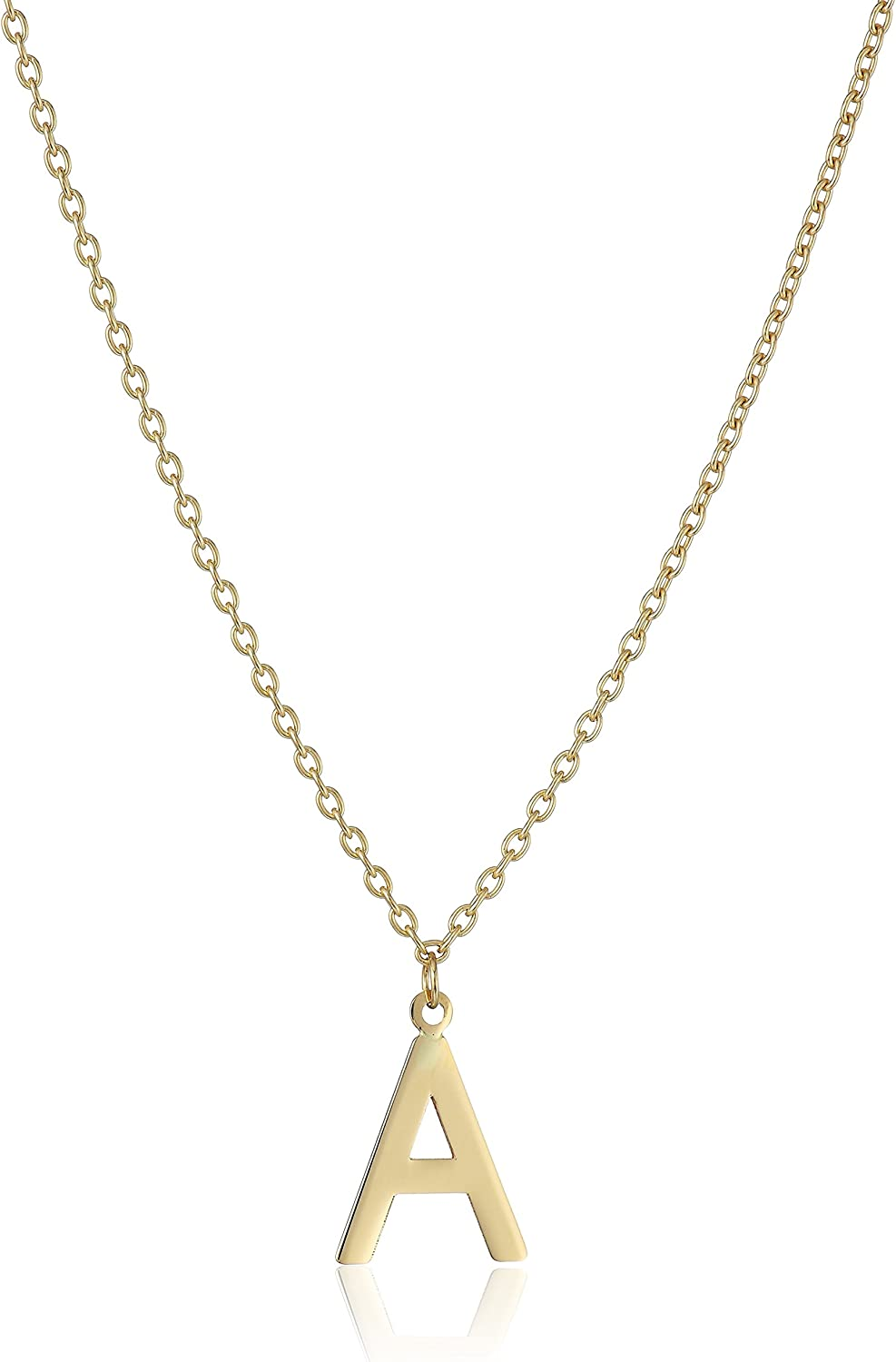 14k Yellow gold Initial Letter PendantNecklace, 18