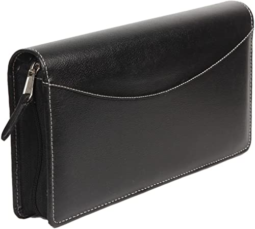 Sukeshcraft Men's Synthetic Rfid Safe Multiple Cheque Book and Card Holder (Black)