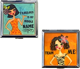 2 Retro Cute Double Sided Compact Mirror Portable Pocket, Purse - Regular and Magnifying Sides, Humorous Chic & Sassy Sayi...