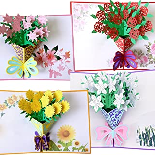 Flower Pop Up Cards 3D | Handmade Greeting Card with Envelopes for All Occasions | Assorted 4 Flower Cards for Thanksgiving Birthday Christmas Valentine's Day Gift