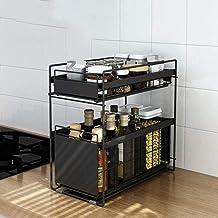 TZUTOGETHER Étagère à épices sur pied,conception coulissante de tiroir,organisateur d'étagère de salle de bain empilable 2...