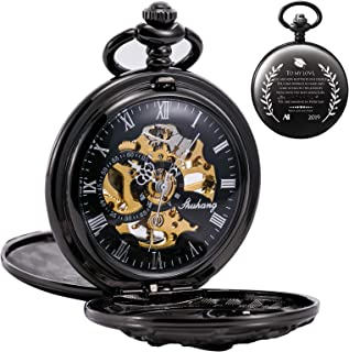 Antique Engraved Mechanical Pocket Watch Lucky Dragon Hollow Case Double Hunter Skeleton Dial Graduation Gift Customized Personalized Engraving College High School Present for Son or Daughter