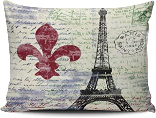 XIUBA Pillowcases Red Blue and Green Eiffel Tower France Vintage Art Customizable Cushion Decorative Rectangle 12X20 inch Boudoir Size Throw Pillow Cover Case Hidden Zipper One Sided Design Printed