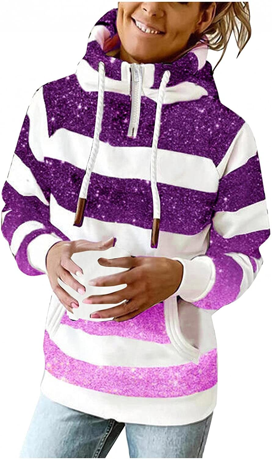 AODONG Hooded Sweatshirts for Women Casual Long Sleeve Lightweight 1/4 Zipper Striped Pullover Hoodies with Pocket