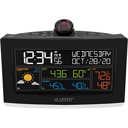 La Crosse Technology 631-99897-INT WiFi Projection Alarm Clock with Outdoor Temperature and Humidity, Onyx