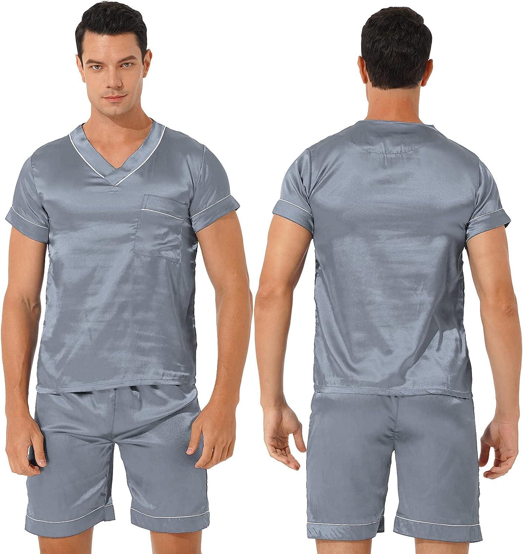 TSSOE Men Silk Satin Pajamas Sets Short Sleeve Sleepwear V-Neck PJs Sets Two-Pieces Loungewear