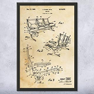 Framed Eames Airport Terminal Chairs Print, Eames Chair, Furniture Designer, Bus Seating, Bench Seats, Lounge Sitting Vintage Paper (5