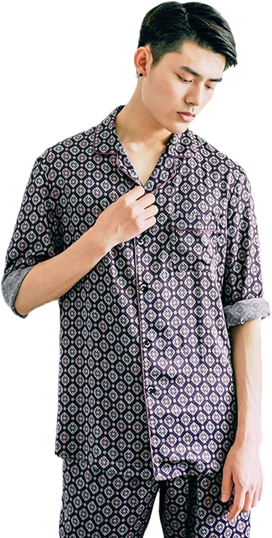 FMOGG Men's Pajama Set Imitation Silk Long Sleeve Printed Plaid Sleepwear Lightweight Button Down Tops and Pants/Bottoms Pj Set Loungewear