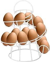 CrazyGadget® -Soporte para cesta de huevos de alambre en espiral, estilo retro, con asa. Con capacidad para 12huevos.Once colores. blanco