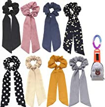 6Pcs Bandana Hair Scrunchies, Chiffon Elastic Hair Bands Hair Scarf, Vintage Hair Accessories Ropes Ponytail Holder Scrunchy Ties for Women Girls (6 Colors Pack B)