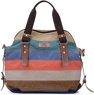 Bagtopia Women Stripes Block Vintage Hobo Canvas Handbags Top Handle Tote Crossbody Shoulder Bags