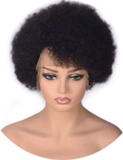 Short Afro Kinky Curly Lace Front Wigs Natural Color Brazilian Remy Human Hair Wigs With Baby Hair For Black Women Wigs,14Inches,150%,Natural Color