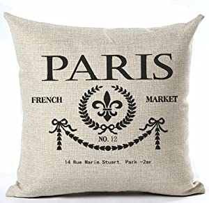 Andreannie Paris French Market No.12 Style Royal Sign Lily Cotton Linen Throw Pillow Case Cushion Cover Home Office Living Room Sofa Car Decorative Square 18 X 18 Inches