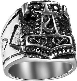 Oidea - Anillo de acero inoxidable para hombre y mujer, clásico retro, diseño de martillo de Thor, anillo celta
