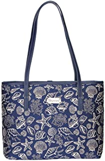 Navy Blue Sea Shell Shoulder Tote Bag by Signare/Women's Fashion Unique Fabric Beach Summer College/COLL-SHELL