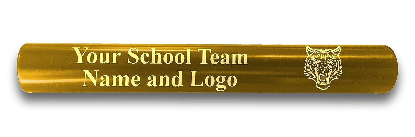 楕円形モス平らにするカスタムイエローアルミトラックとフィールドリレーバトンPersonalized Gift?–?チーム名とロゴを刻印