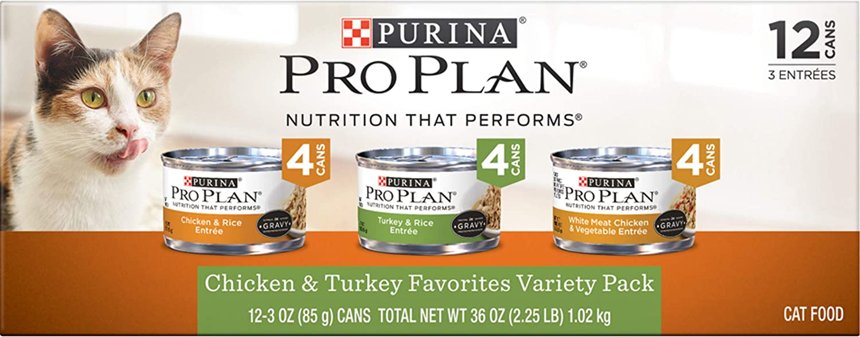 Purina Pro Plan Gravy Wet Cat Food Variety Pack, Chicken & Turkey Favorites - (2 Packs of 12) 3 oz. Cans