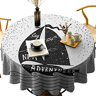 LLSDSD Round Polyester Tablecloth Wash Free, Wrinkle Free Being Open to The New Adventures Quote on a Small Boat Marine Jo...
