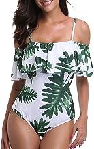 Tempt Me Women's One Piece Swimsuit Vintage Off Shoulder Ruffled Bathing Suits