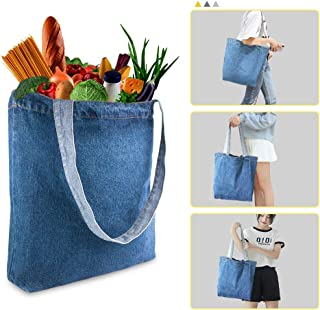 WAOU Reusable Grocery Shopping Bags for Home & Kitchen,Lightweight Soft Denim Blue Tote Bags,Eco-friendly Foldable,Unisex Shopper Shoulder Handbag,Stylish Durable & Washable 1PCS(Light Blue)