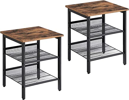 VASAGLE Industrial Nightstand, Set of 2 Side Tables, End Table with Adjustable Mesh Shelves, for Living Room, Bedroom, Stable Metal Frame and Easy Assembly ULET24X
