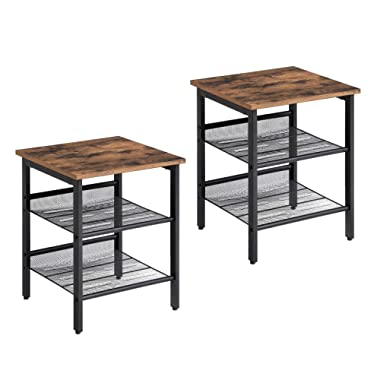 VASAGLE Nightstand, Set of 2 Side Tables, End Tables with Adjustable Mesh Shelves, for Living Room, Bedroom, Industrial, Stable Steel Frame, Easy Assembly, Rustic Brown and Black ULET24X