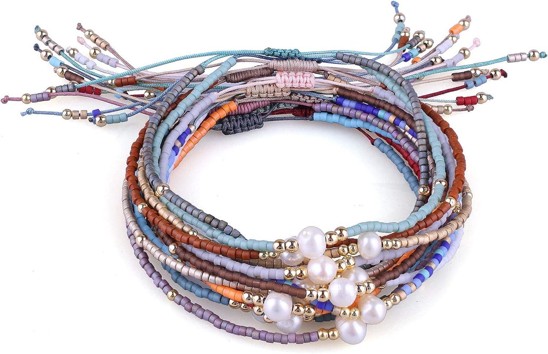 KELITCH 10 Pcs Tassels Friendship Bracelets New Stretch Bracelets Bangles Candy Wide Charm Bracelets