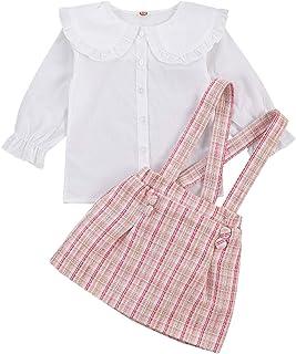 Loalirando Completo Bambina Elegante Camicia in Pizzo Bianco a Manica Lunga+Gonna Scozzese Bambina Rosa