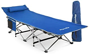 Alpcour Folding Camping Cot – Deluxe Collapsible Single Person Bed in a Bag w/Pillow for Indoor & Outdoor Use – Ultra...