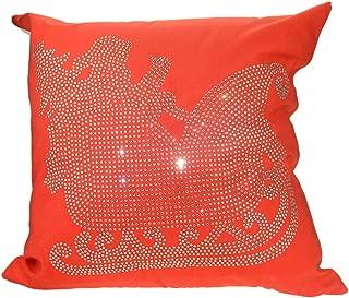 MYC Rhinestones Velvet Square Diamond-Studded Snow Snowflake Pillowcase Cushion Covers 18x18 Inches (1 Pack)