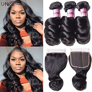 Unice Hair 8a Brazilian Loose Wave 4x4 Free Part Lace Closure and 3 Bundles Loose Wave Virgin Human Hair Weave Extensions Natural Color (18 20 22+16closure)