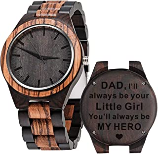 Custom Engraved Wooden Watches for Men Personalized Groomsmen Watches Anniversary Birthday Watch for Husband Boyfriend Dad Him Leather Strap Double-Sided