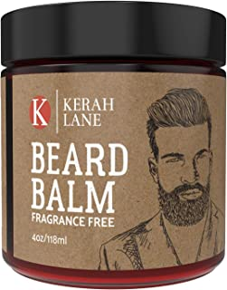 Kerah Lane Beard Balm (4 oz) Promotes Softer, Fuller, Thicker & Healthier Beard Growth | Natural and Organic Ingredients | Best Vegan Friendly Leave in Conditioner for Men (Fragrance Free)