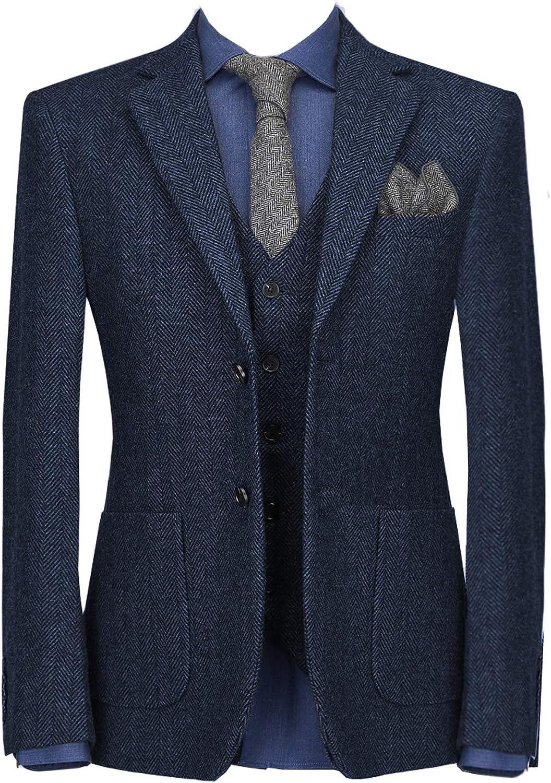 Mens 3 Piece Suit Slim Fit Classic Tailored Tweed Herringbone Tuxedos Groom Wedding