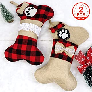 OurWarm 2Pcs Dog Christmas Stockings, 16.5 Inches Buffalo Plaid Bone with Large Opening Design, Classic Stocking Decorations for Pets