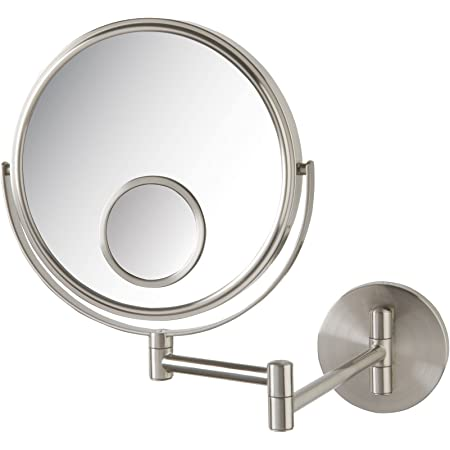 Amazon Com Jerdon Jp7510n Wall Mount Makeup Mirror With 10x And 15x Magnification Nickel Finish 8 Personal Makeup Mirrors Beauty