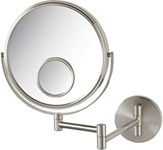 Jerdon JP7510N 8-Inch Two-Sided Swivel Wall Mount Mirror with 10x and 15x Magnification, 13.5-Inch Extension, Nickel Finish