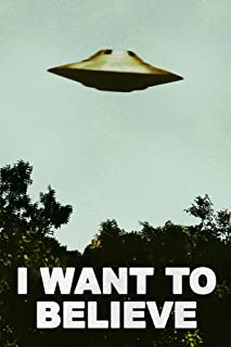 I Want to Believe UFO Artwork Alien Poster TV Retro 90s Poster Wall Decor Movie Area 51 The Truth is Out There Merchandise Kitchen Decor for All Seasons Cool Wall Decor Art Print Poster 12x18
