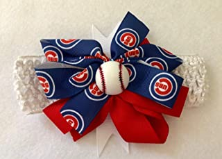 Chicago Cub Baby Girl Boutique Bow Crocheted Headband