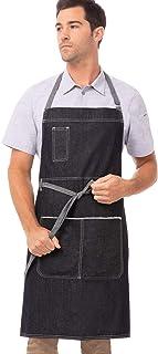Chef Works Unisex Bronx Bib Apron, Indigo Blue, One Size