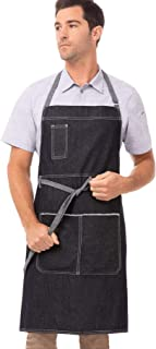 Chef Works Unisex Bronx Bib Apron, Indigo Blue, One Size