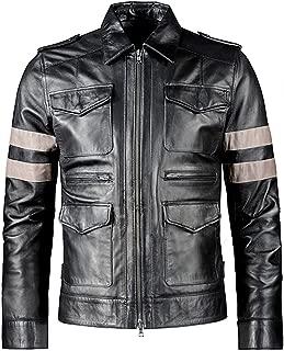 ST Mens Biker Leather Jacket 4 Pocket Zip-Front Coat Resident Evil RE 6 Faux Halloween Costume Slim Fit Big Tall Boys Kid