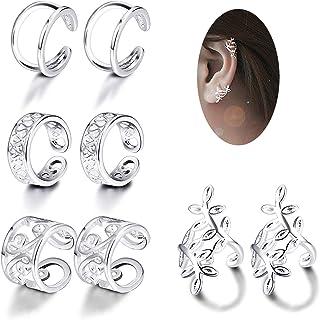 d4bd5933d JOERICA 4 Pairs Silver Ear Cuff Earrings for Women Girls Clip on Fake Lip Cartilage  Tragus