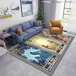 Home Area Runner Rug Pad Tarot Card Set Suit of The Moon, Suit of The Sun and Suit of Thickened Non Slip Mats Doormat Entry Rug Floor Carpet for Living Room Indoor Outdoor Throw Rugs