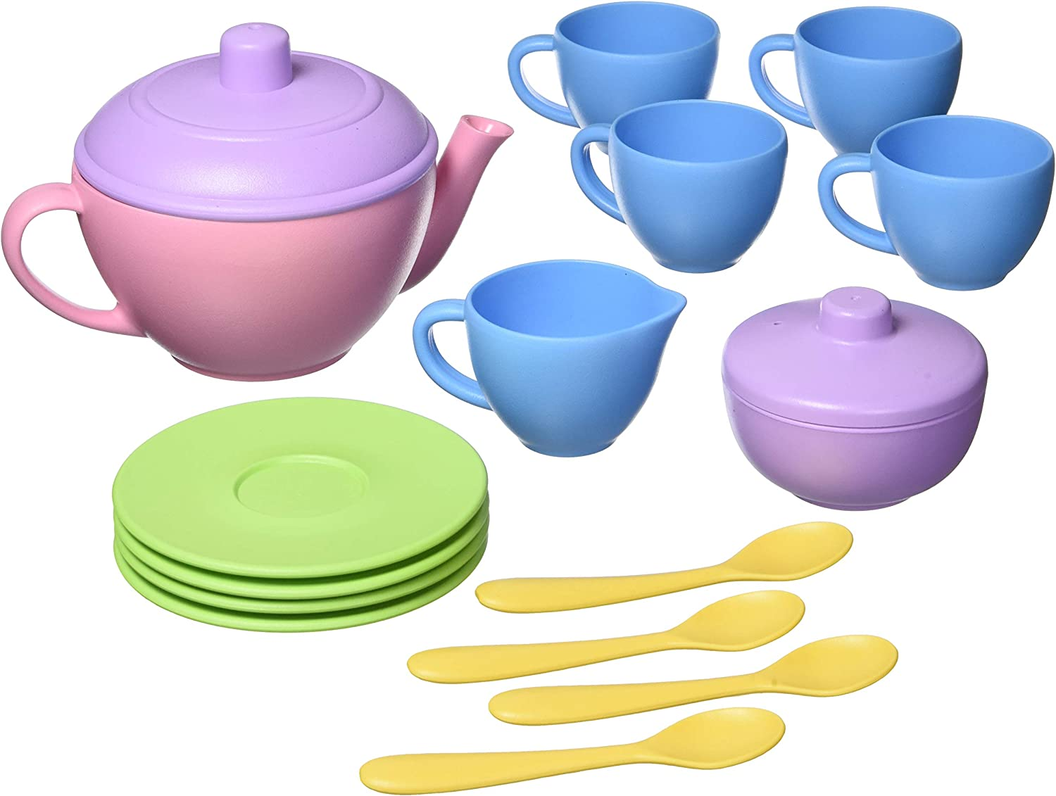 Green Toys Tea Set, Pink 4C - 17 Piece Pretend Play, Motor Skills, Language & Communication Kids Role Play Toy. No BPA, phthalates, PVC. Dishwasher Safe, Recycled Plastic, Made in USA.